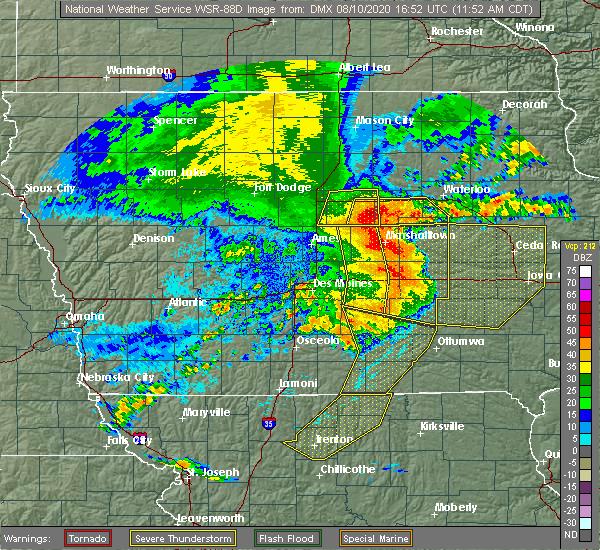 Radar Image for Severe Thunderstorms near Cincinnati, IA at 8/10/2020 12:01 PM CDT