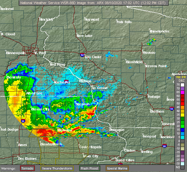 Radar Image for Severe Thunderstorms near Bagley, WI at 8/10/2020 12:07 PM CDT