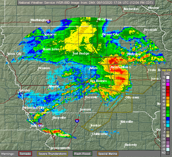 Radar Image for Severe Thunderstorms near Melrose, IA at 8/10/2020 12:10 PM CDT