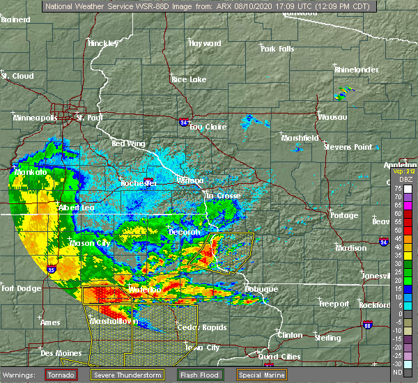 Radar Image for Severe Thunderstorms near Bagley, WI at 8/10/2020 12:12 PM CDT