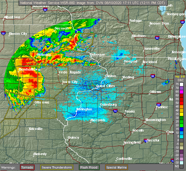 Radar Image for Severe Thunderstorms near Brandon, IA at 8/10/2020 12:20 PM CDT