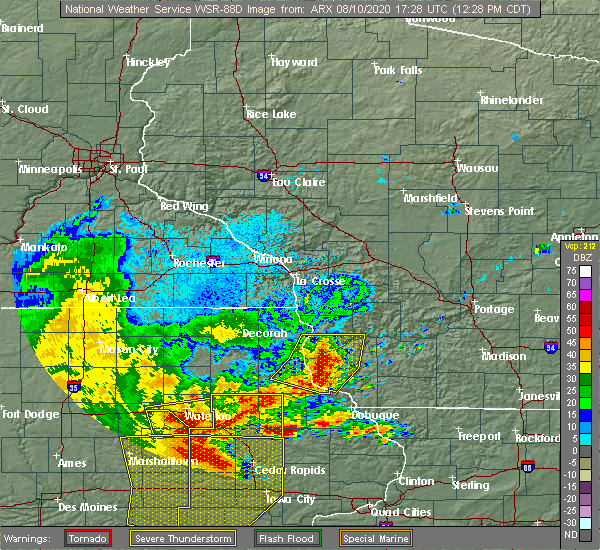 Radar Image for Severe Thunderstorms near Bagley, WI at 8/10/2020 12:32 PM CDT