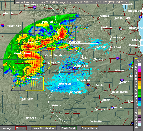 Radar Image for Severe Thunderstorms near Martelle, IA at 8/10/2020 12:37 PM CDT