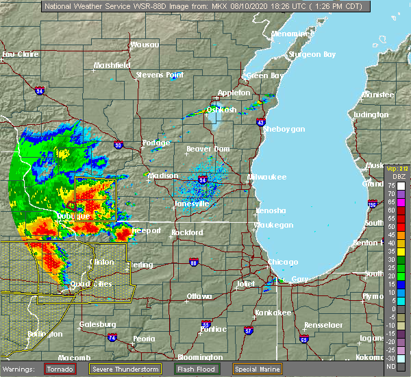 Radar Image for Severe Thunderstorms near Madison, WI at 8/10/2020 1:29 PM CDT