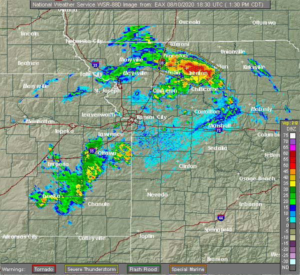 Radar Image for Severe Thunderstorms near Tindall, MO at 8/10/2020 1:35 PM CDT