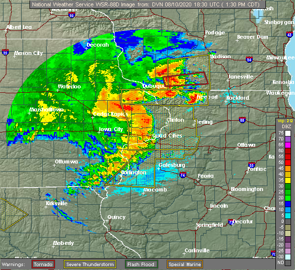 Radar Image for Severe Thunderstorms near Elmwood, IL at 8/10/2020 1:36 PM CDT