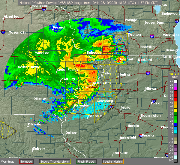 Radar Image for Severe Thunderstorms near Adeline, IL at 8/10/2020 1:44 PM CDT