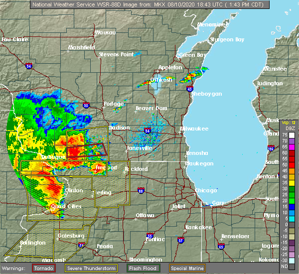 Radar Image for Severe Thunderstorms near Madison, WI at 8/10/2020 1:48 PM CDT