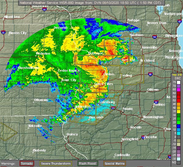 Radar Image for Severe Thunderstorms near Adeline, IL at 8/10/2020 1:58 PM CDT