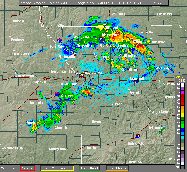 Radar Image for Severe Thunderstorms near Gibbs, MO at 8/10/2020 2:01 PM CDT