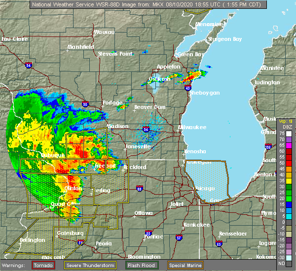 Radar Image for Severe Thunderstorms near Madison, WI at 8/10/2020 2:03 PM CDT