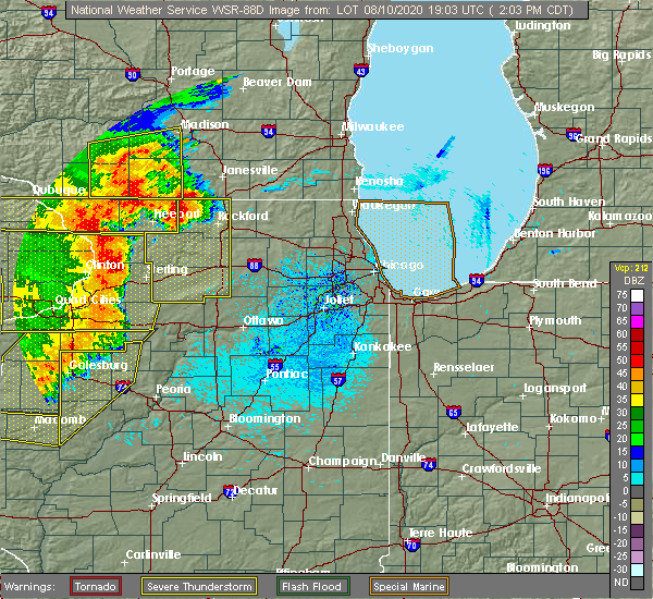 Radar Image for Severe Thunderstorms near Kingston, IL at 8/10/2020 2:06 PM CDT