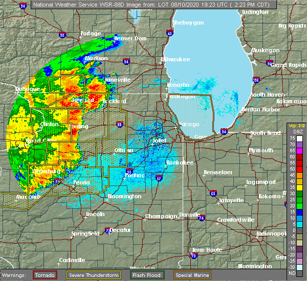 Radar Image for Severe Thunderstorms near Kingston, IL at 8/10/2020 2:25 PM CDT