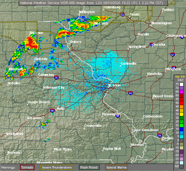 Radar Image for Severe Thunderstorms near La Belle, MO at 8/10/2020 2:27 PM CDT