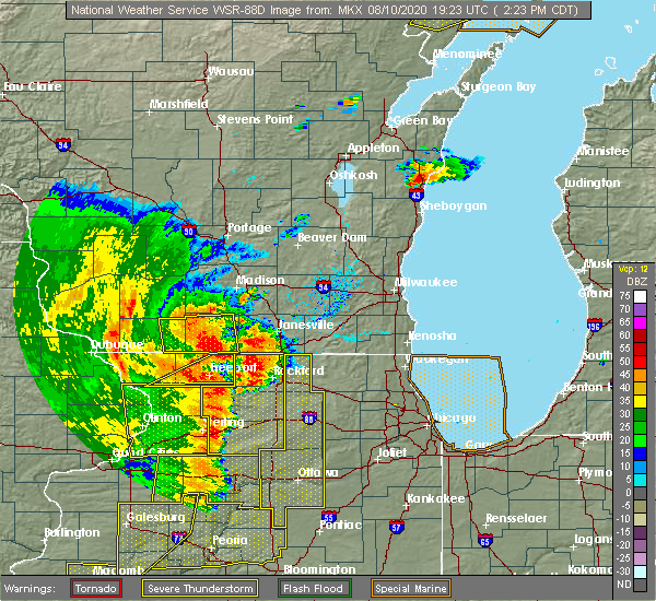 Radar Image for Severe Thunderstorms near German Valley, IL at 8/10/2020 2:28 PM CDT