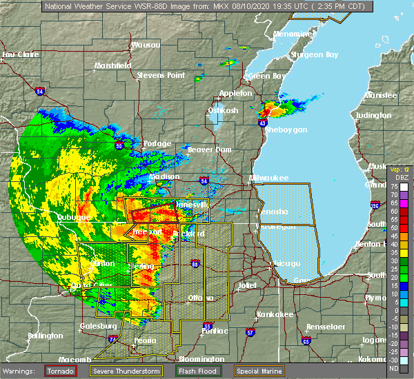 Radar Image for Severe Thunderstorms near Rockford, IL at 8/10/2020 2:46 PM CDT