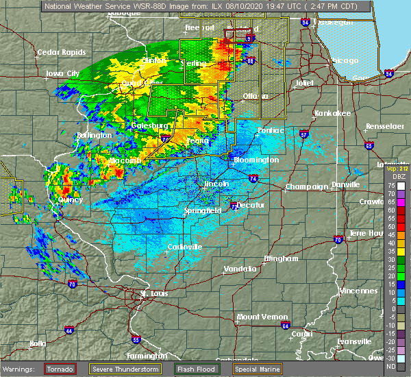 Radar Image for Severe Thunderstorms near Canton, IL at 8/10/2020 2:53 PM CDT