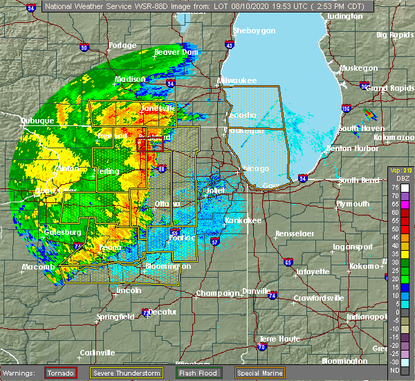 Radar Image for Severe Thunderstorms near Chicago Heights, IL at 8/10/2020 2:59 PM CDT