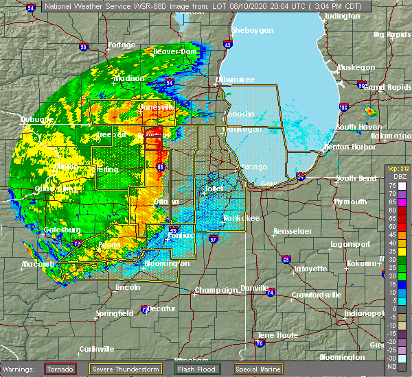 Radar Image for Severe Thunderstorms near Fox River Grove, IL at 8/10/2020 3:07 PM CDT