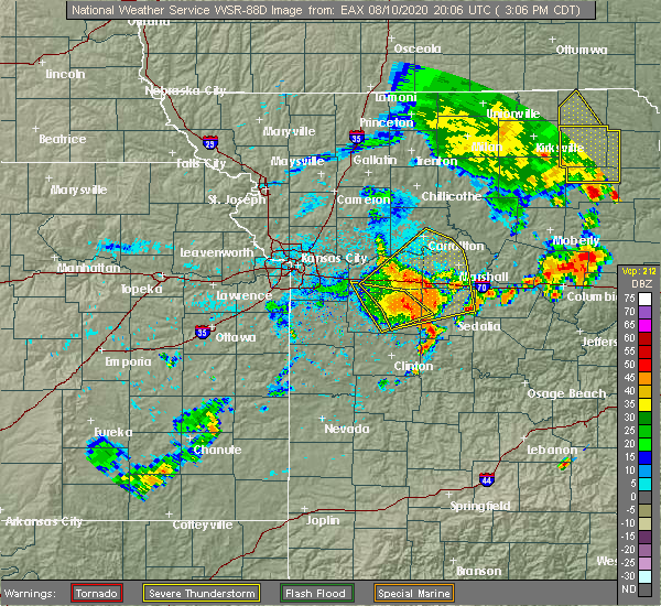 Radar Image for Severe Thunderstorms near Concordia, MO at 8/10/2020 3:17 PM CDT