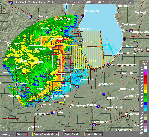 Radar Image for Severe Thunderstorms near Chicago Heights, IL at 8/10/2020 3:24 PM CDT