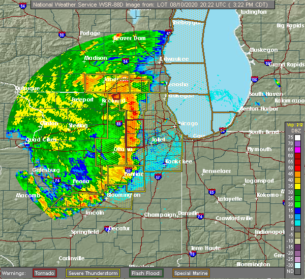 Radar Image for Severe Thunderstorms near Elgin, IL at 8/10/2020 3:29 PM CDT