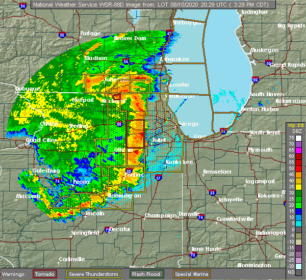Radar Image for Severe Thunderstorms near Montgomery, IL at 8/10/2020 3:33 PM CDT