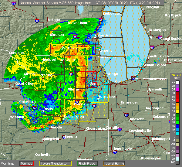 Radar Image for Severe Thunderstorms near Chicago Heights, IL at 8/10/2020 3:35 PM CDT