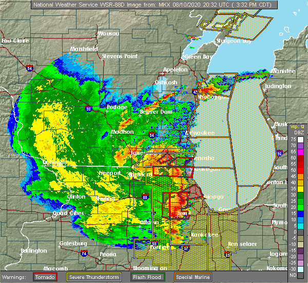 Radar Image for Severe Thunderstorms near Grayslake, IL at 8/10/2020 3:47 PM CDT