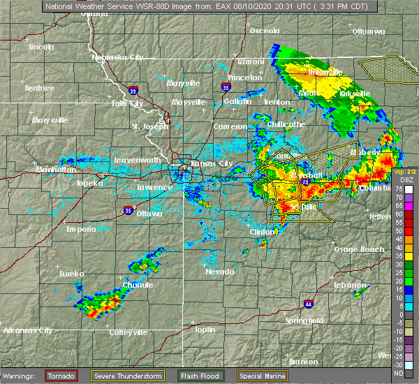 Radar Image for Severe Thunderstorms near Clark, MO at 8/10/2020 3:50 PM CDT