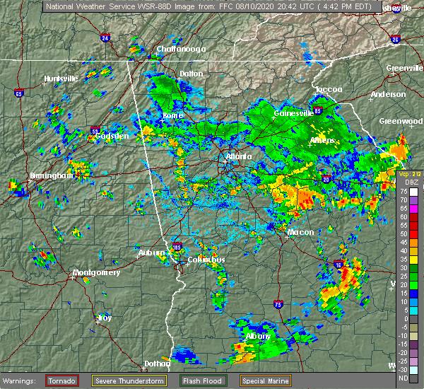 Radar Image for Severe Thunderstorms near Talbotton, GA at 8/10/2020 4:51 PM EDT