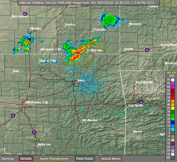 Radar Image for Severe Thunderstorms near Parsons, KS at 8/10/2020 3:52 PM CDT