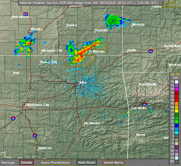 Radar Image for Severe Thunderstorms near Lenapah, OK at 8/10/2020 4:02 PM CDT