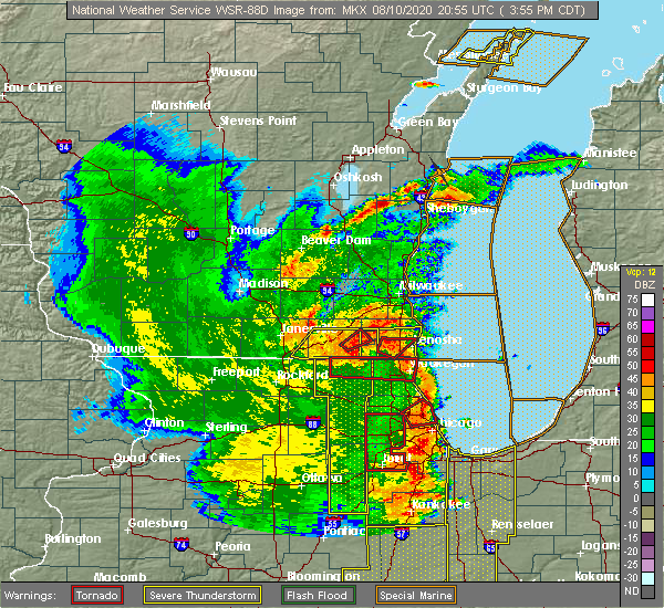 Radar Image for Severe Thunderstorms near Channel Lake, IL at 8/10/2020 4:04 PM CDT