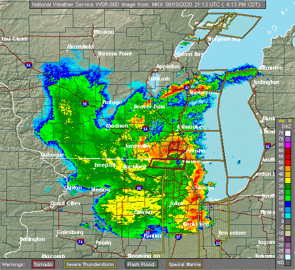 Radar Image for Severe Thunderstorms near Grayslake, IL at 8/10/2020 4:18 PM CDT