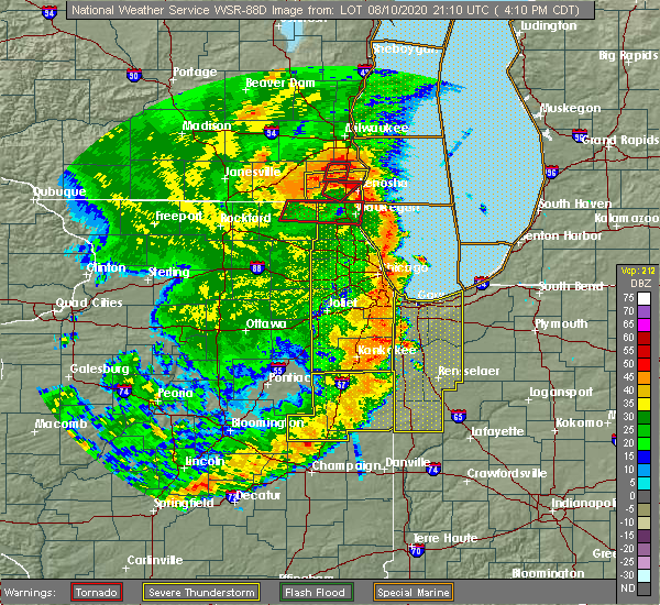 Radar Image for Severe Thunderstorms near Gibson City, IL at 8/10/2020 4:22 PM CDT