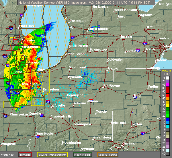 Radar Image for Severe Thunderstorms near La Crosse, IN at 8/10/2020 5:22 PM EDT