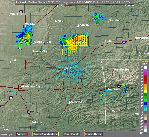 Radar Image for Severe Thunderstorms near Lenapah, OK at 8/10/2020 4:25 PM CDT