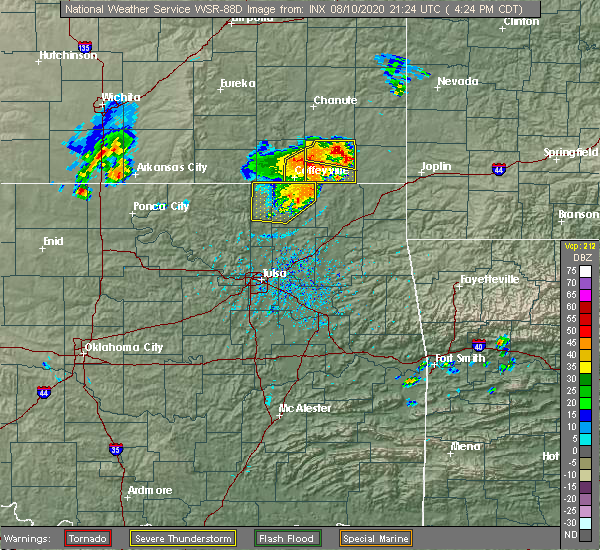 Radar Image for Severe Thunderstorms near Baxter Springs, KS at 8/10/2020 4:30 PM CDT