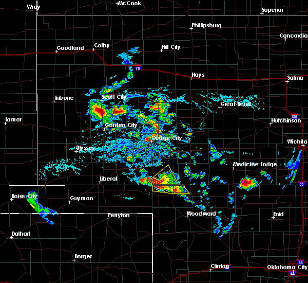 Radar Image for Severe Thunderstorms near Spearville, KS at 8/10/2020 4:31 PM CDT