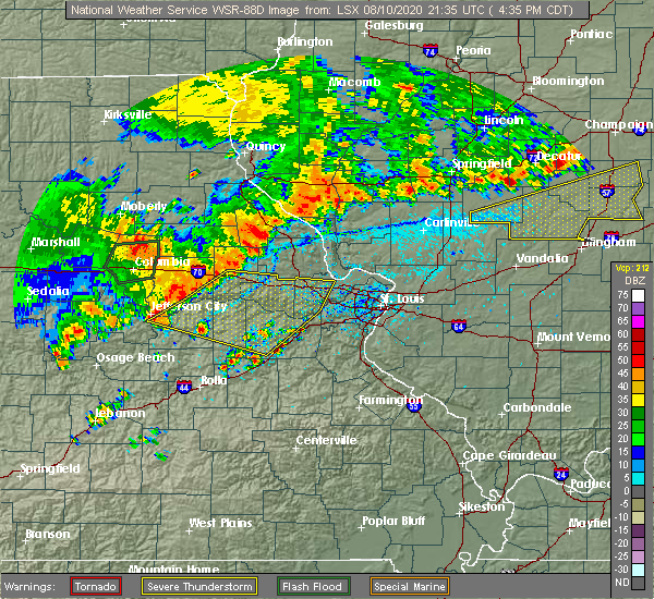 Radar Image for Severe Thunderstorms near Gasconade, MO at 8/10/2020 4:42 PM CDT