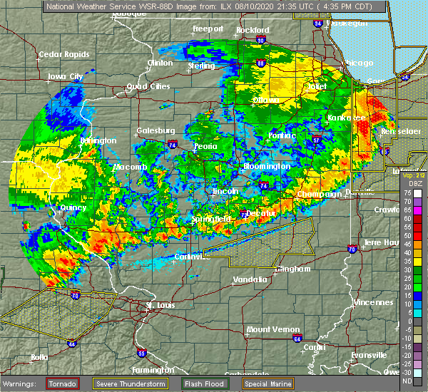 Radar Image for Severe Thunderstorms near Charleston, IL at 8/10/2020 4:43 PM CDT