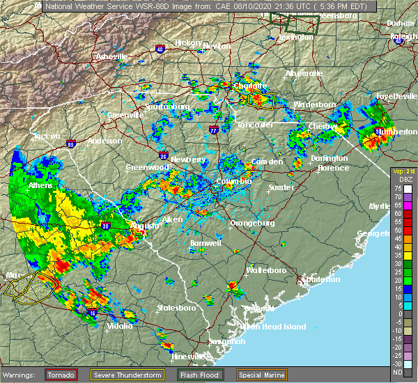 Radar Image for Severe Thunderstorms near Midland, NC at 8/10/2020 5:44 PM EDT