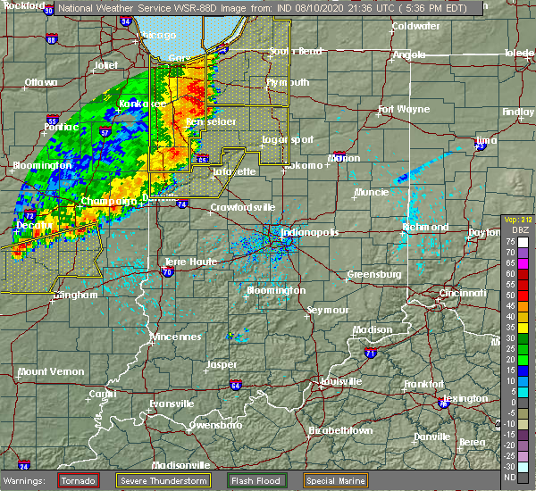Radar Image for Severe Thunderstorms near Delphi, IN at 8/10/2020 5:50 PM EDT