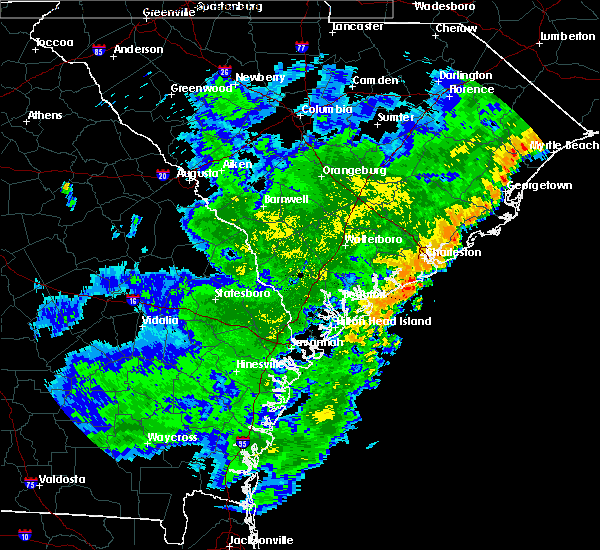 Radar Image for Severe Thunderstorms near Edisto Beach, SC at 7/2/2015 8:37 PM EDT