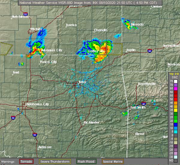 Radar Image for Severe Thunderstorms near Parsons, KS at 8/10/2020 4:52 PM CDT