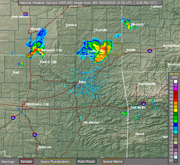 Radar Image for Severe Thunderstorms near Baxter Springs, KS at 8/10/2020 4:57 PM CDT