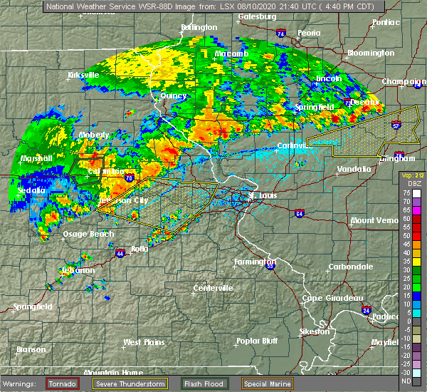 Radar Image for Severe Thunderstorms near St. Peters, MO at 8/10/2020 5:01 PM CDT