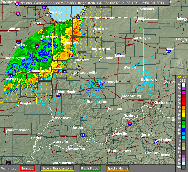 Radar Image for Severe Thunderstorms near Delphi, IN at 8/10/2020 6:06 PM EDT