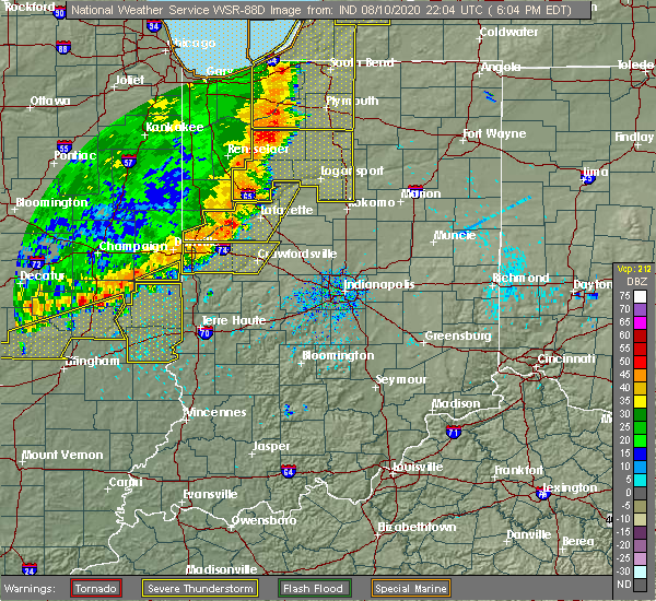 Radar Image for Severe Thunderstorms near Hillsboro, IN at 8/10/2020 6:09 PM EDT